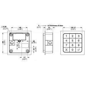 Verrou électrique à code clavier dimensions