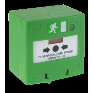 Déclencheur manuel vert d'ouverture d'urgence de porte. BBG Vert 1 contact