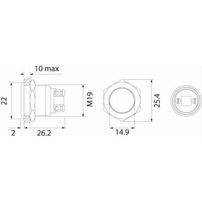 Dimensions bouton poussoir inox pour demande de sortie pour contrôle d'accès