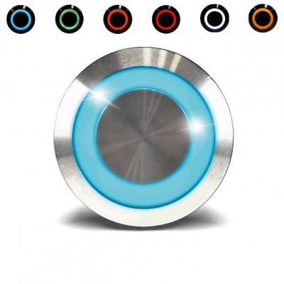 Bouton poussoir impulsionnel étanche pour le contrôle d'accès avec un voyant bleu