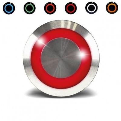 Bouton poussoir impulsionnel étanche pour le contrôle d'accès avec un voyant rouge