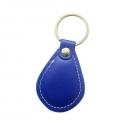 Porte-clés bleu badge Proximité  RFID 125KHz en simili cuir